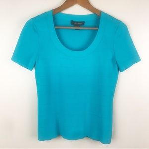 CABLE & GAUGE Sweater Blouse Turquoise Scoop Neck